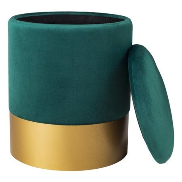 Stool VELVET dark green / size L